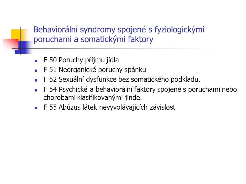 Behaviorální syndromy spojené s fyziologickými poruchami a somatickými faktory