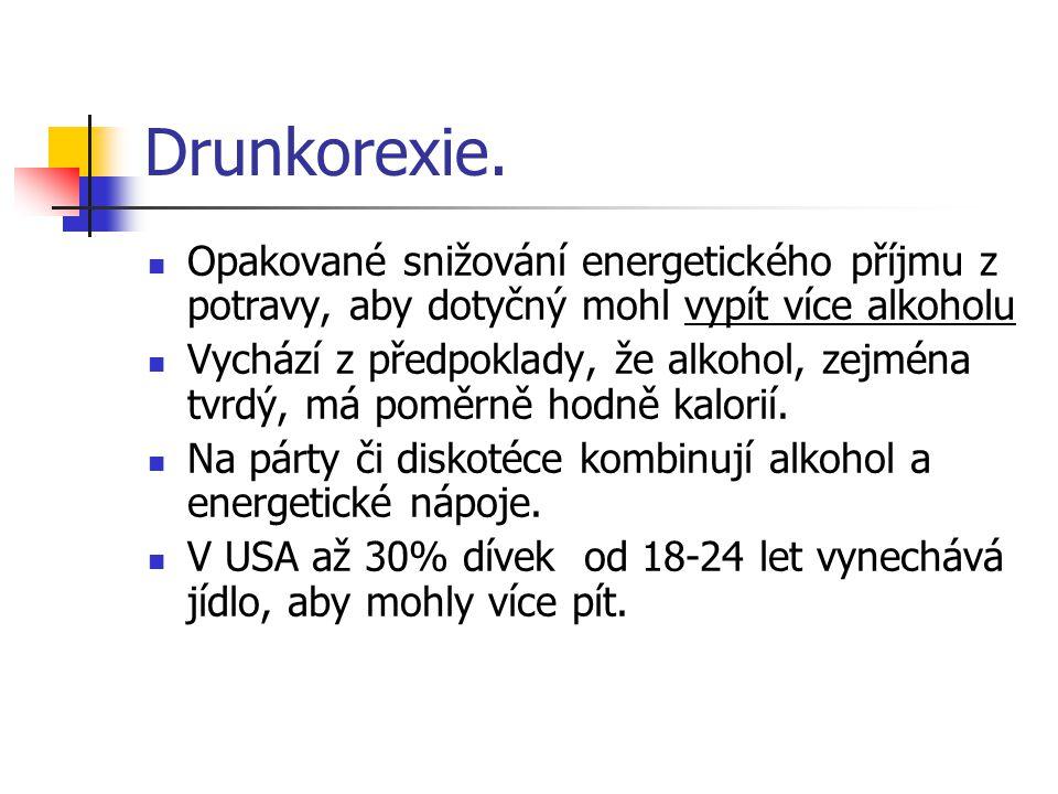 Drunkorexie. Opakované snižování energetického příjmu z potravy, aby dotyčný mohl vypít více alkoholu.