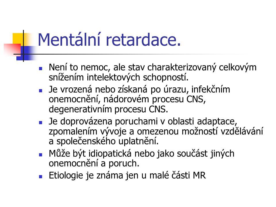 Mentální retardace. Není to nemoc, ale stav charakterizovaný celkovým snížením intelektových schopností.
