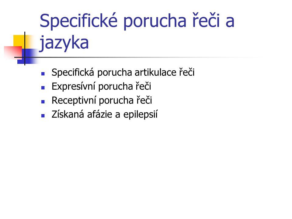 Specifické porucha řeči a jazyka