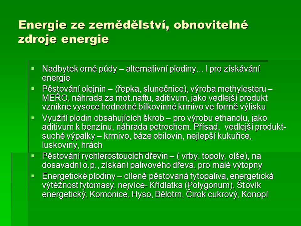 Energie ze zemědělství, obnovitelné zdroje energie