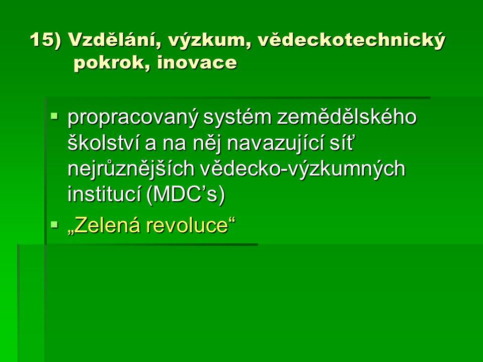15) Vzdělání, výzkum, vědeckotechnický pokrok, inovace