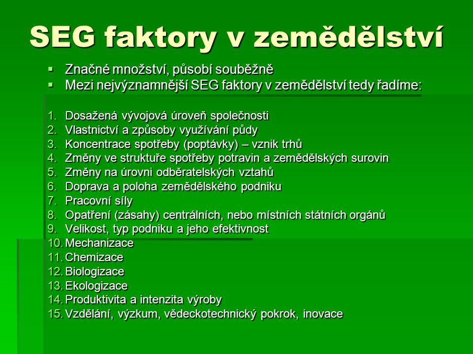 SEG faktory v zemědělství