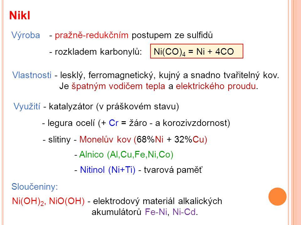 Nikl Výroba - pražně-redukčním postupem ze sulfidů