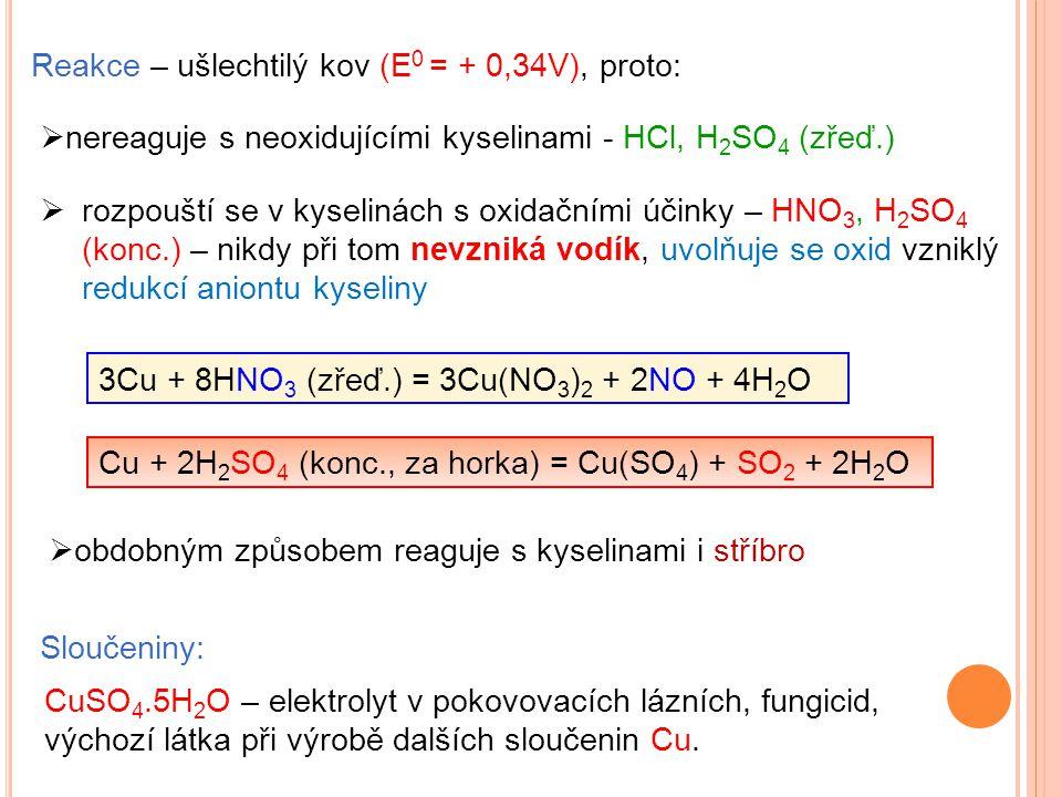 Reakce – ušlechtilý kov (E0 = + 0,34V), proto: