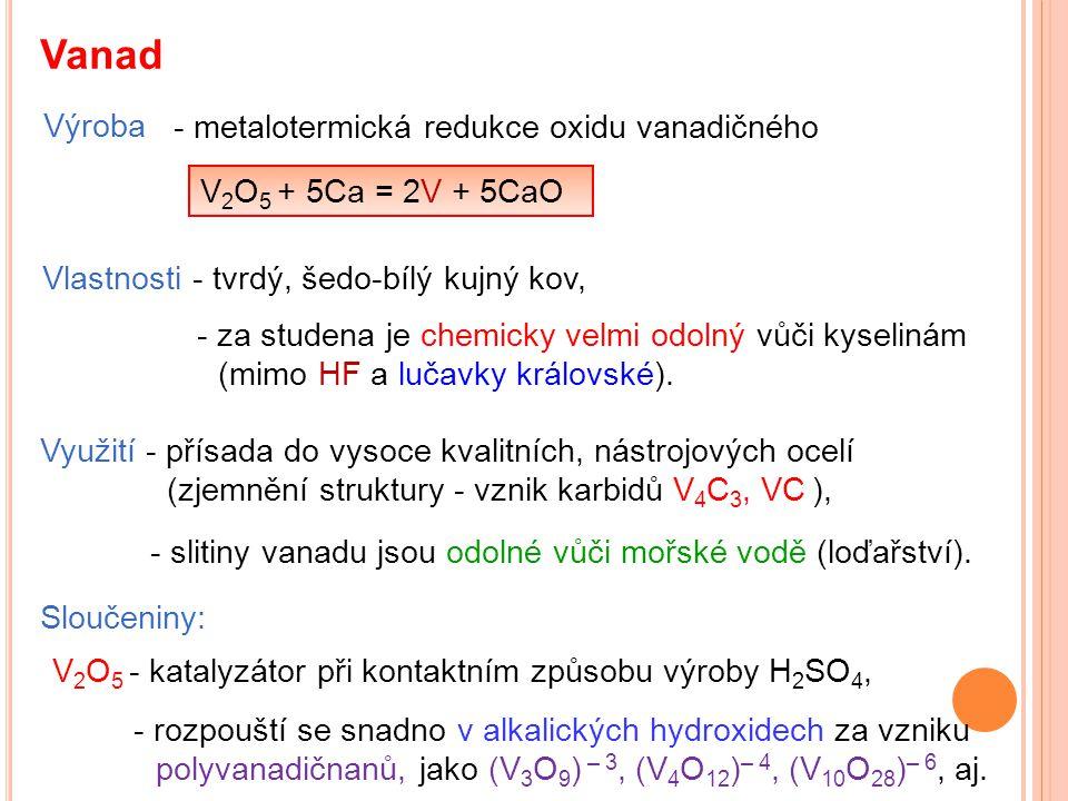 Vanad Výroba - metalotermická redukce oxidu vanadičného