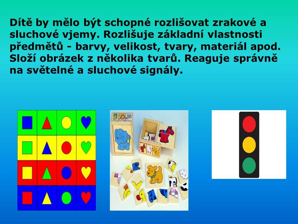 Dítě by mělo být schopné rozlišovat zrakové a sluchové vjemy