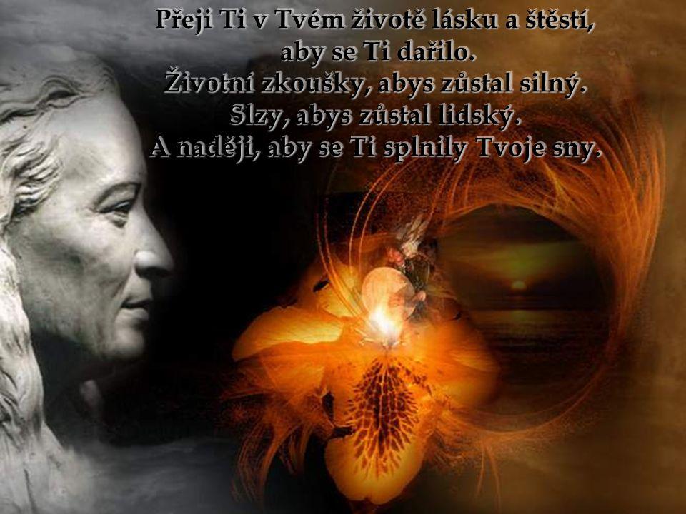 Přeji Ti v Tvém životě lásku a štěstí, aby se Ti dařilo.