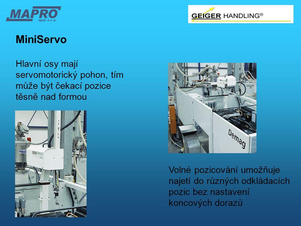 MiniServo Hlavní osy mají servomotorický pohon, tím může být čekací pozice těsně nad formou.