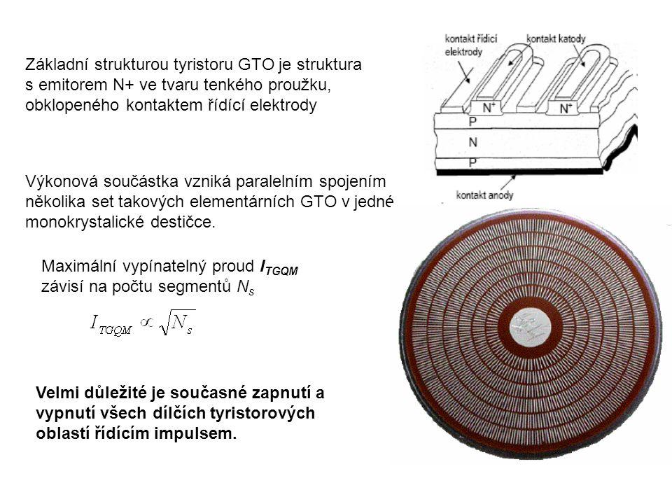 Základní strukturou tyristoru GTO je struktura s emitorem N+ ve tvaru tenkého proužku, obklopeného kontaktem řídící elektrody