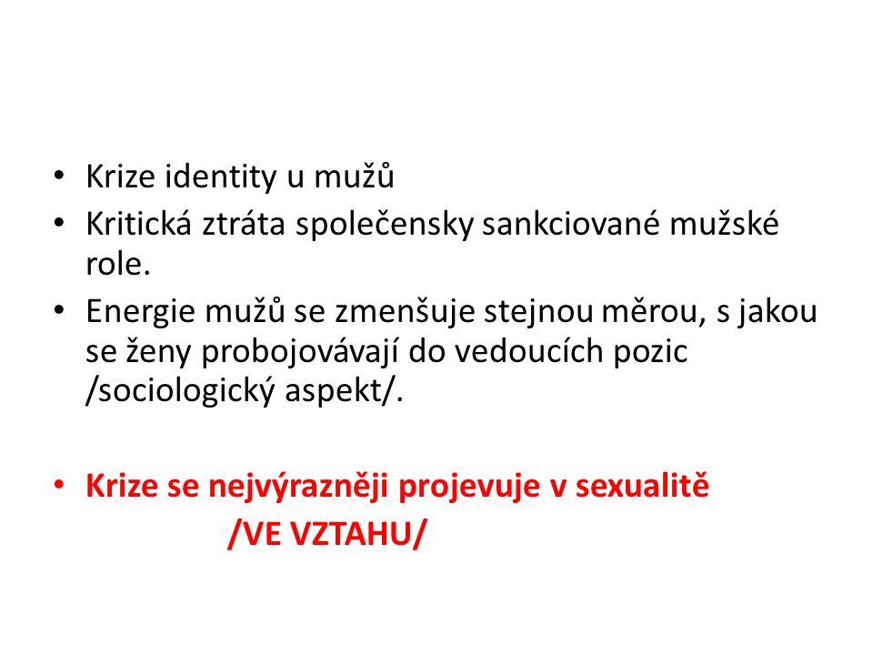 Krize identity u mužů Kritická ztráta společensky sankciované mužské role.