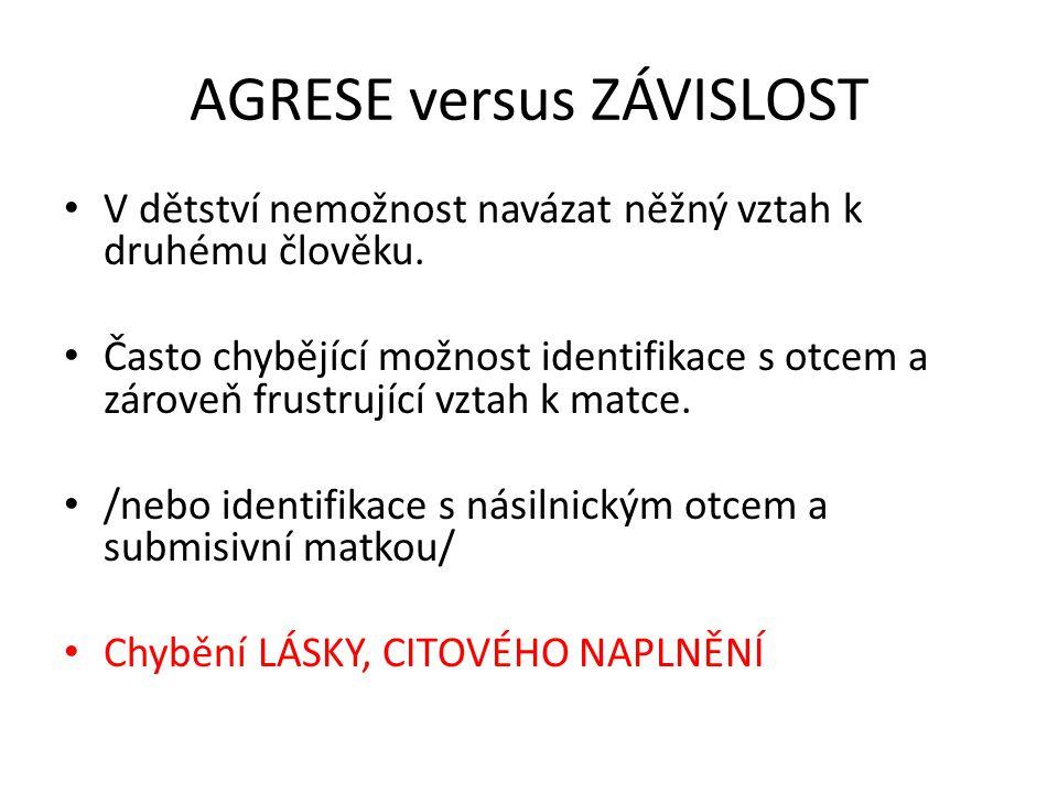 AGRESE versus ZÁVISLOST