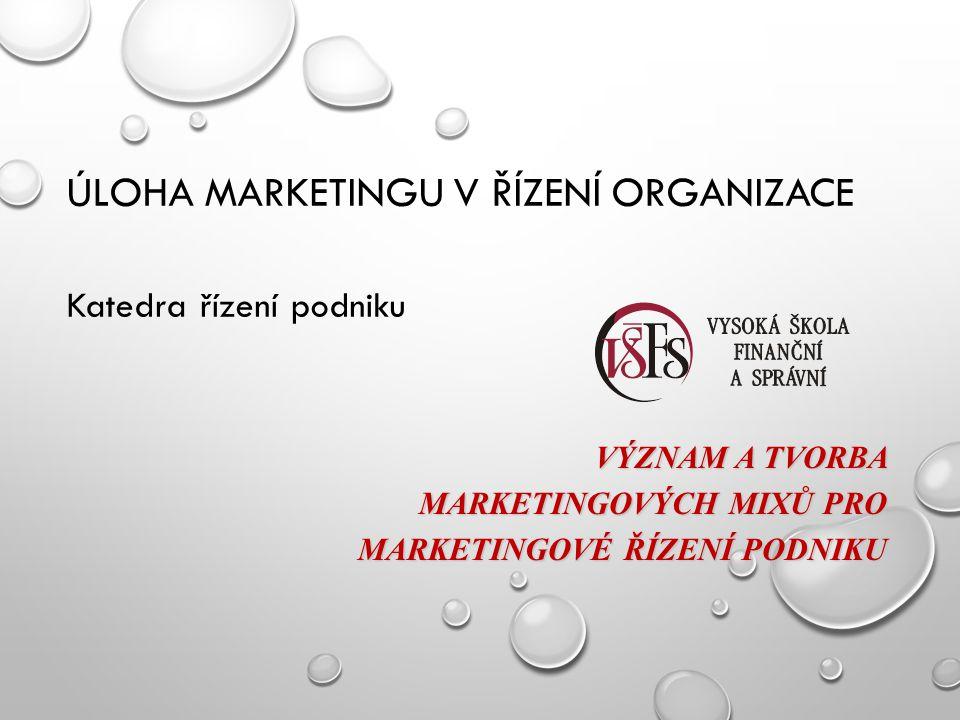 Úloha marketingu v řízení organizace Katedra řízení podniku