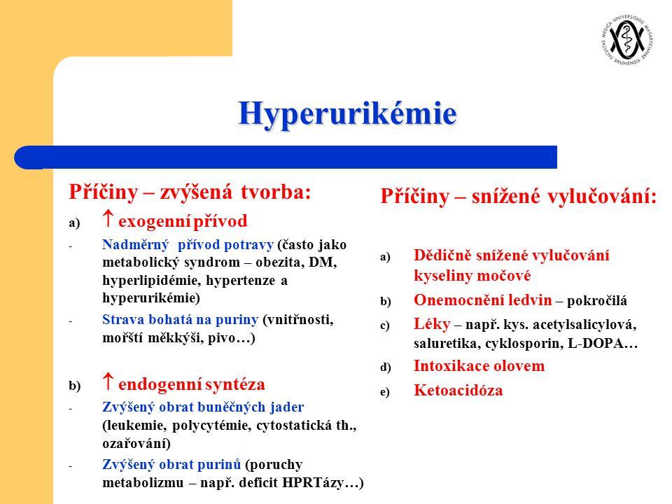 Hyperurikémie Příčiny – zvýšená tvorba: Příčiny – snížené vylučování: