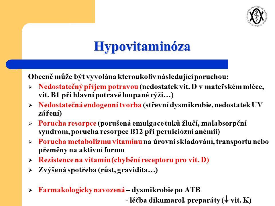 Hypovitaminóza Obecně může být vyvolána kteroukoliv následující poruchou: