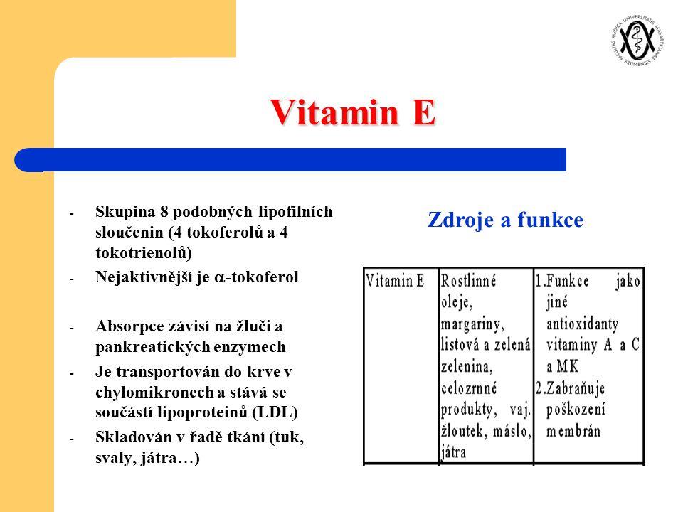 Vitamin E Zdroje a funkce