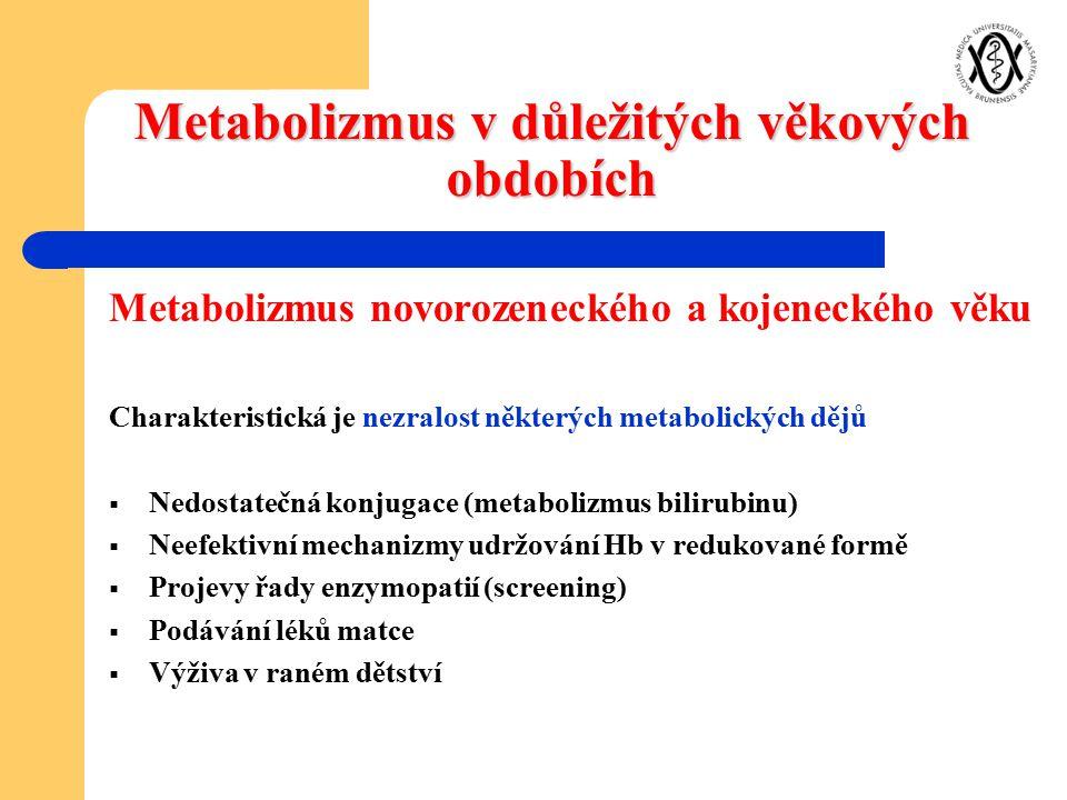 Metabolizmus v důležitých věkových obdobích