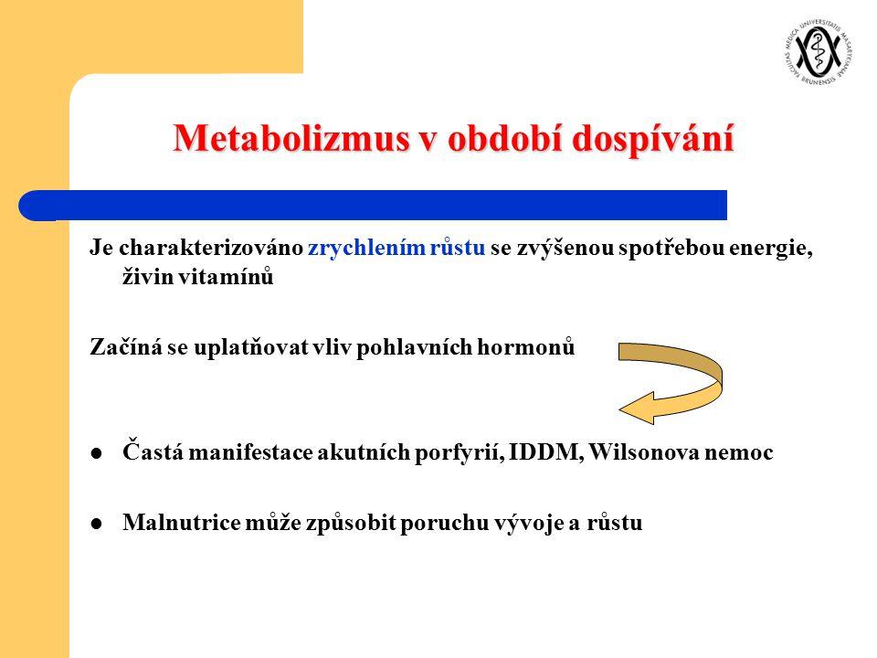 Metabolizmus v období dospívání