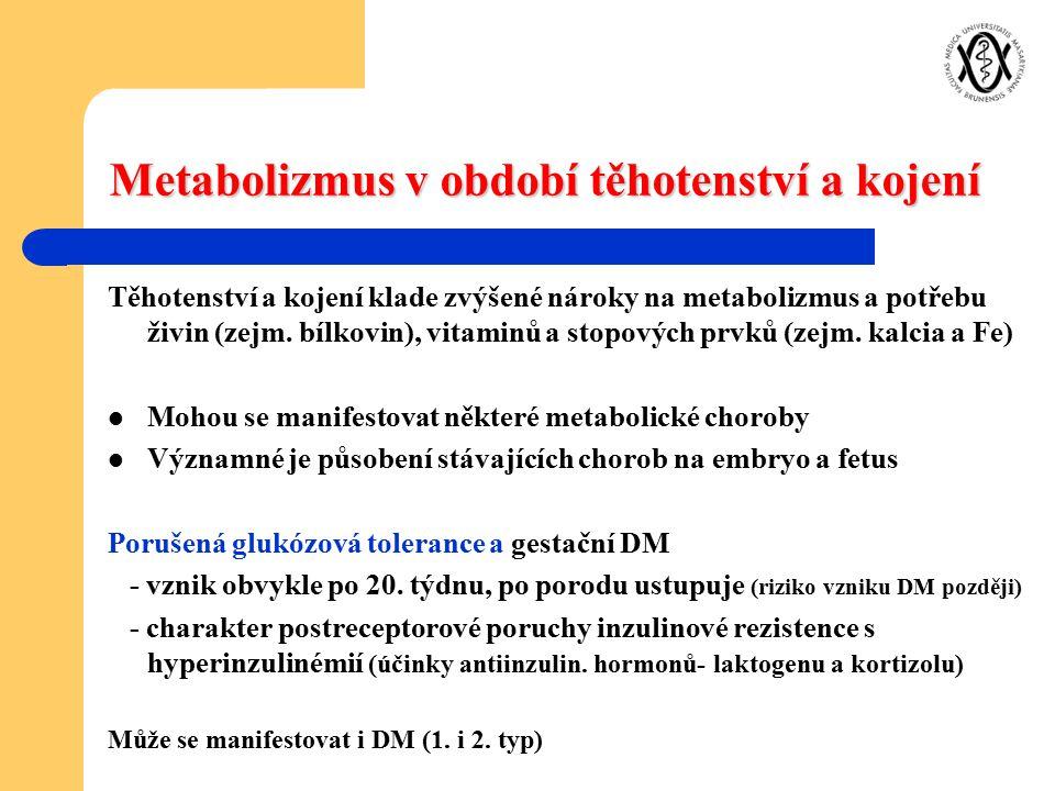 Metabolizmus v období těhotenství a kojení