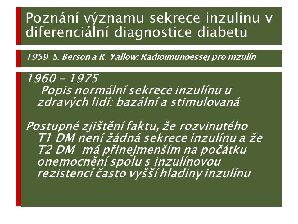 Poznání významu sekrece inzulínu v diferenciální diagnostice diabetu