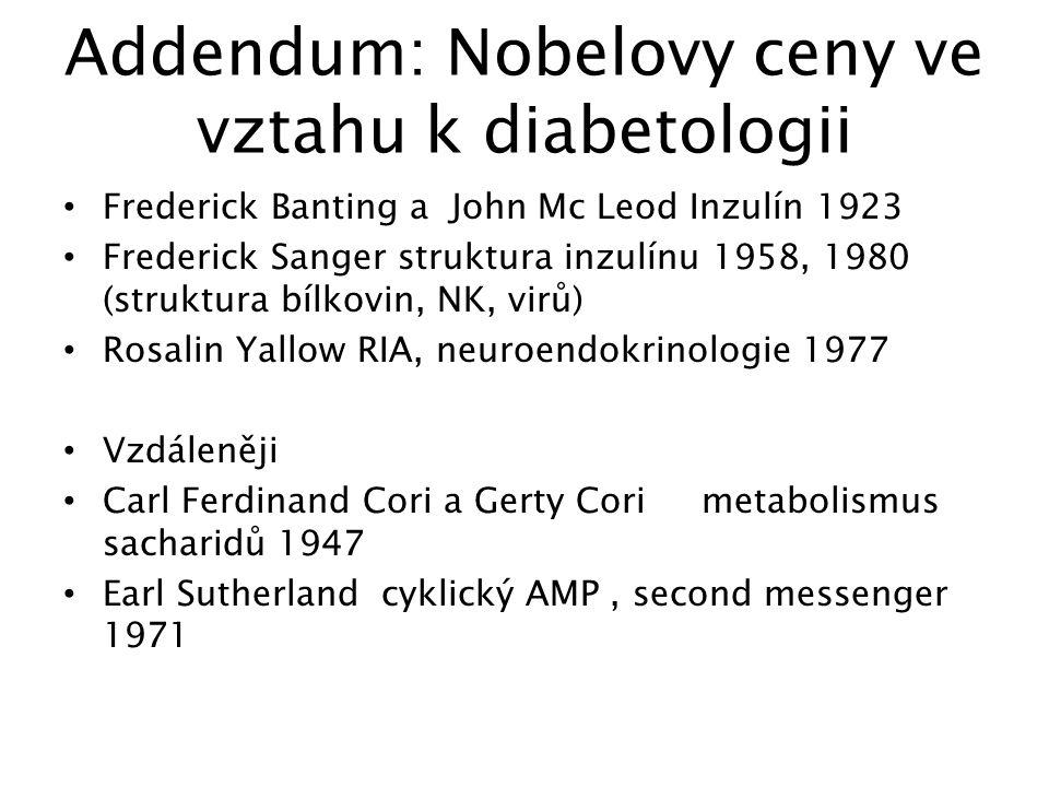 Addendum: Nobelovy ceny ve vztahu k diabetologii