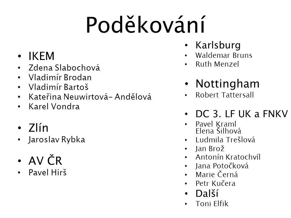 Poděkování IKEM Nottingham Zlín AV ČR Karlsburg DC 3. LF UK a FNKV