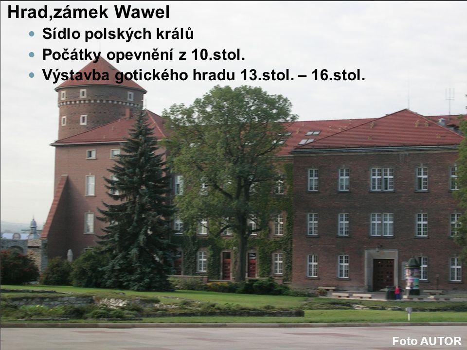 Hrad,zámek Wawel Sídlo polských králů Počátky opevnění z 10.stol.