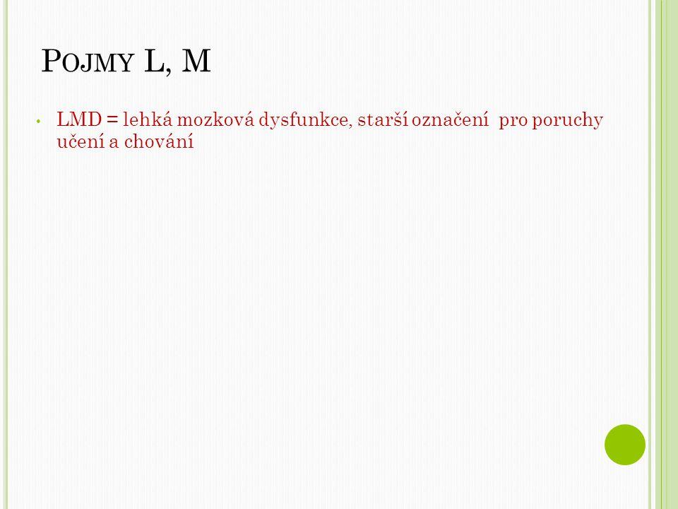 Pojmy L, M LMD = lehká mozková dysfunkce, starší označení pro poruchy učení a chování