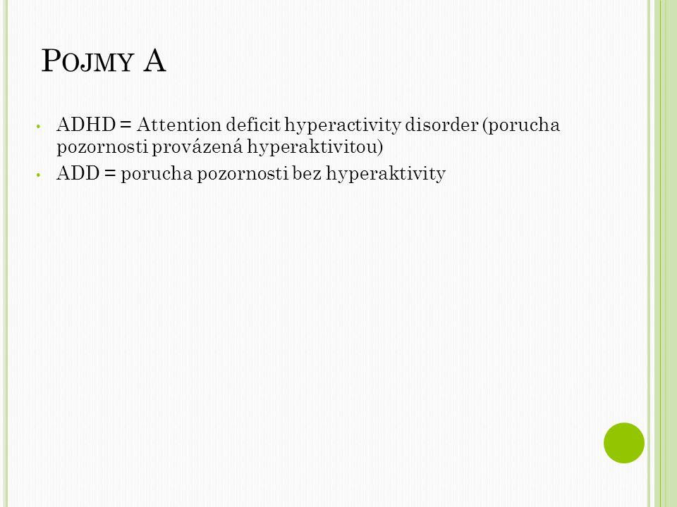 Pojmy A ADHD = Attention deficit hyperactivity disorder (porucha pozornosti provázená hyperaktivitou)
