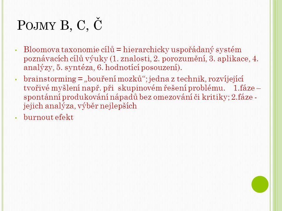 Pojmy B, C, Č