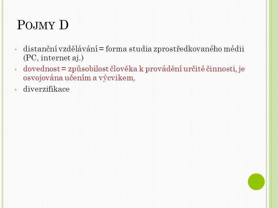 Pojmy D distanční vzdělávání = forma studia zprostředkovaného médii (PC, internet aj.)