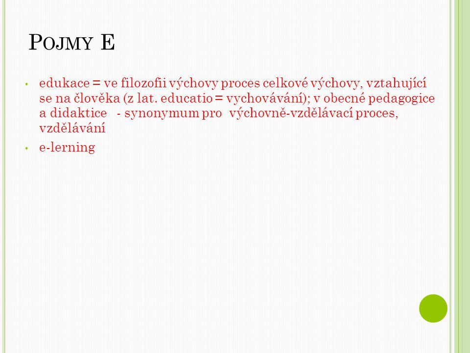 Pojmy E