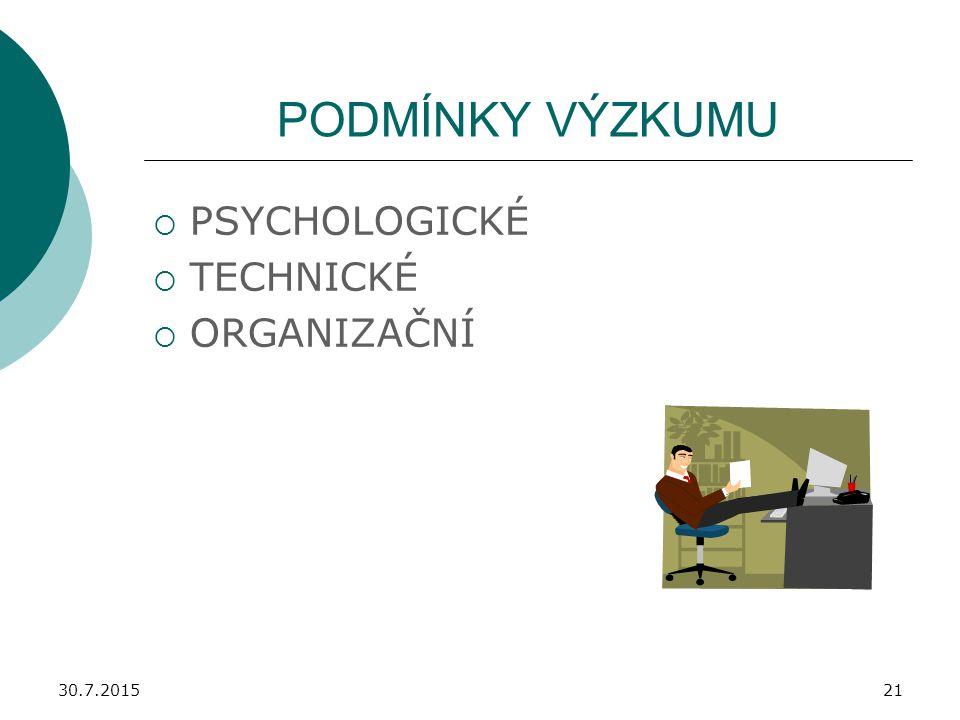PODMÍNKY VÝZKUMU PSYCHOLOGICKÉ TECHNICKÉ ORGANIZAČNÍ 18.4.2017