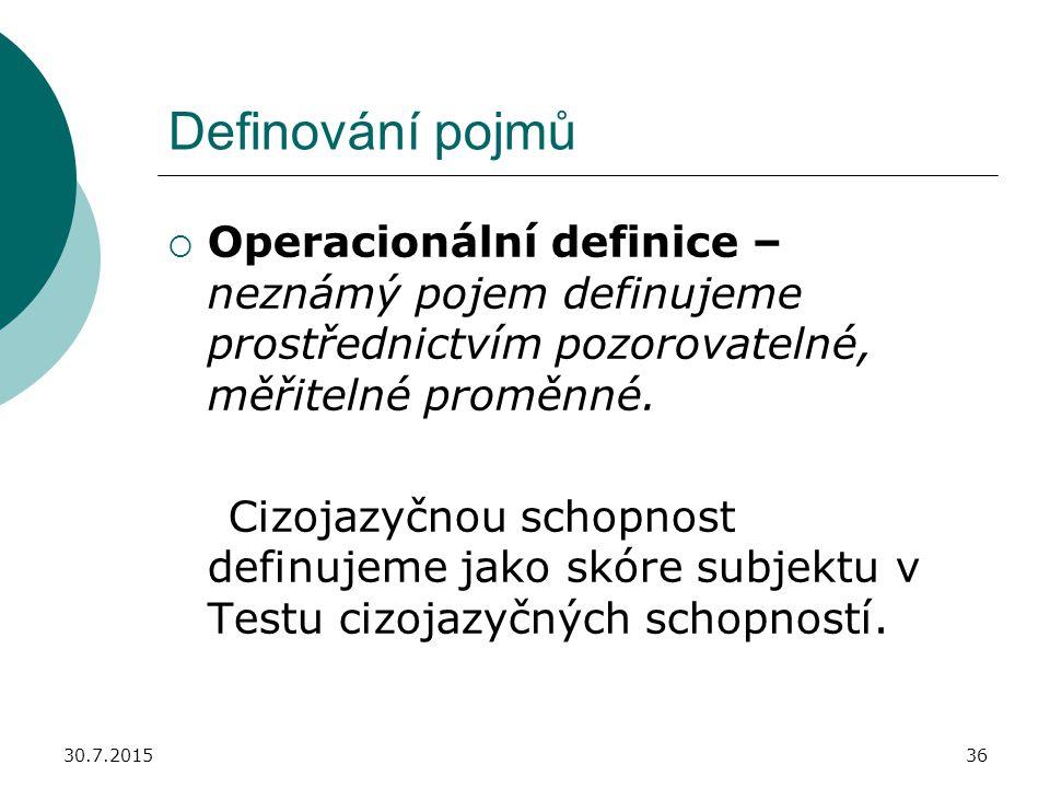 Definování pojmů Operacionální definice – neznámý pojem definujeme prostřednictvím pozorovatelné, měřitelné proměnné.