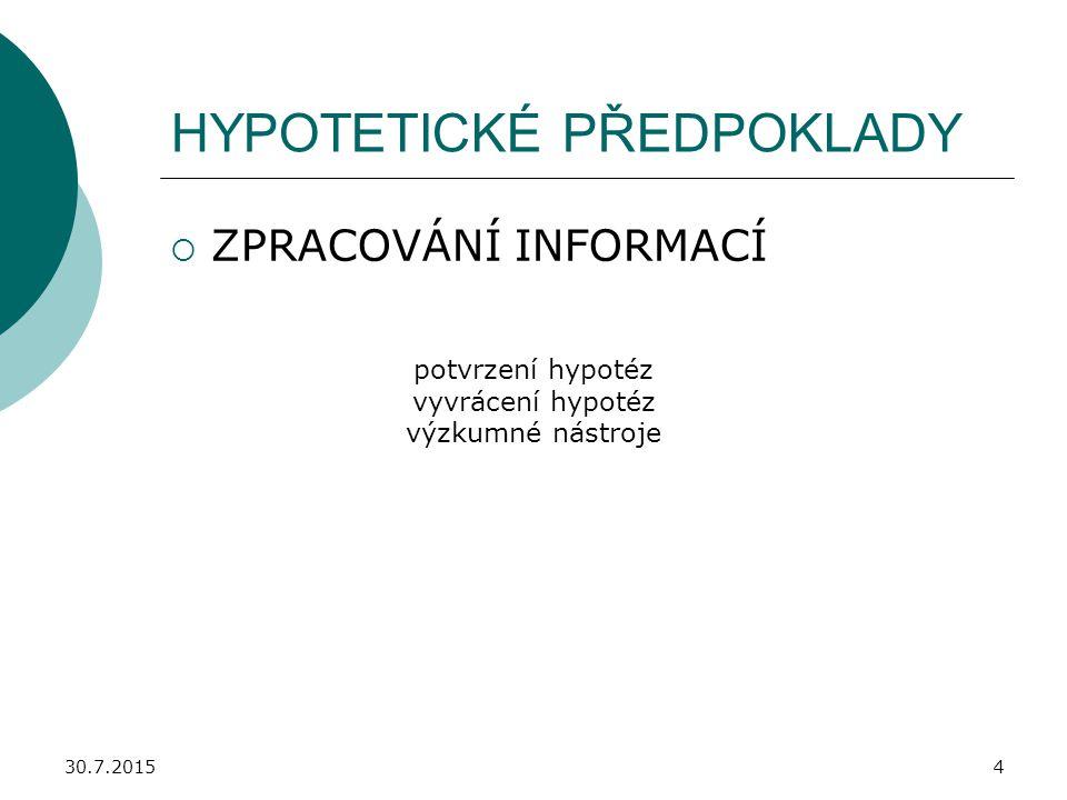 HYPOTETICKÉ PŘEDPOKLADY
