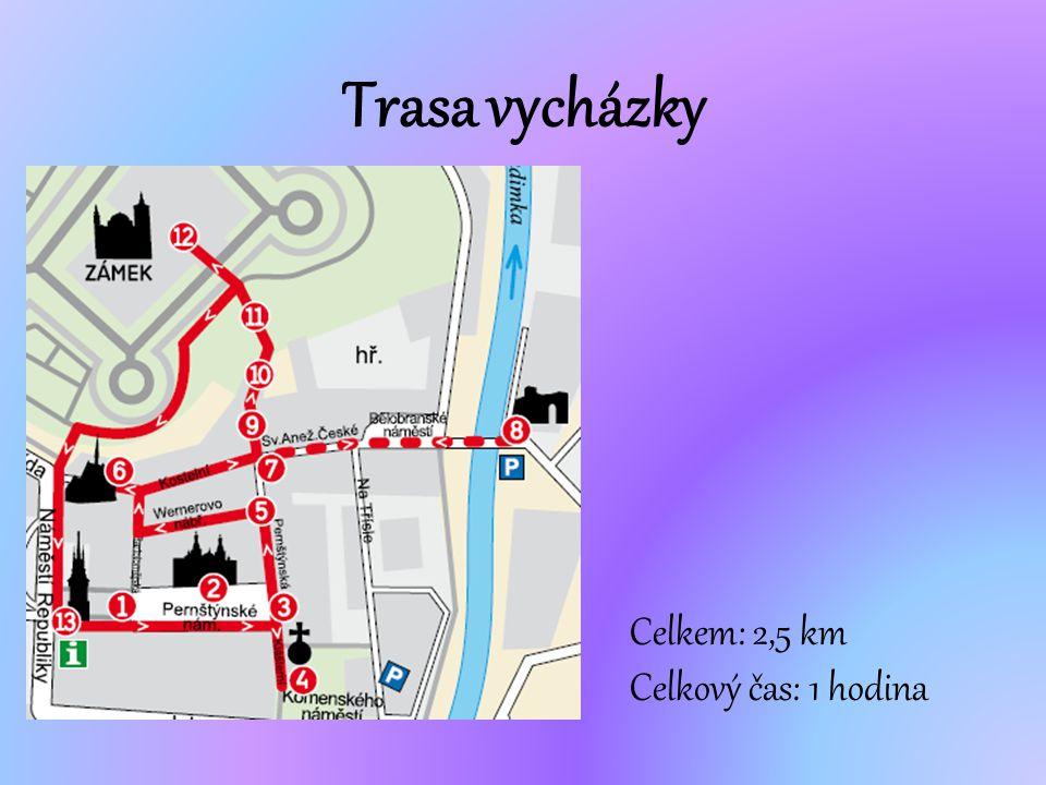 Trasa vycházky Celkem: 2,5 km Celkový čas: 1 hodina