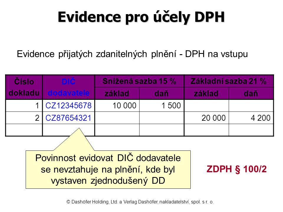 Evidence pro účely DPH Evidence přijatých zdanitelných plnění - DPH na vstupu. Číslo. dokladu. DIČ.