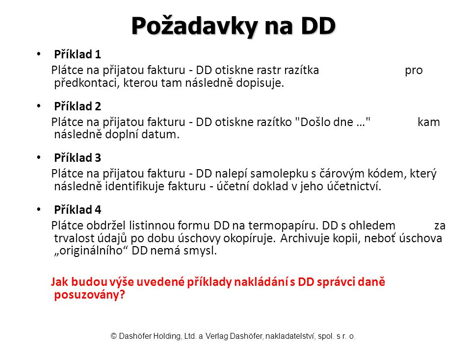 Požadavky na DD Příklad 1