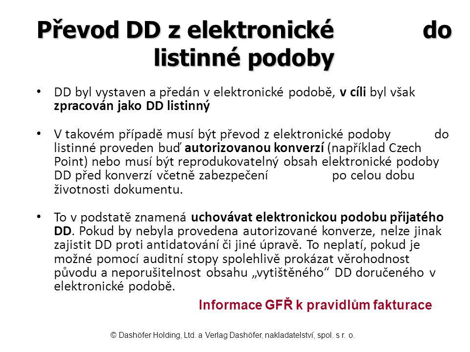 Převod DD z elektronické do listinné podoby
