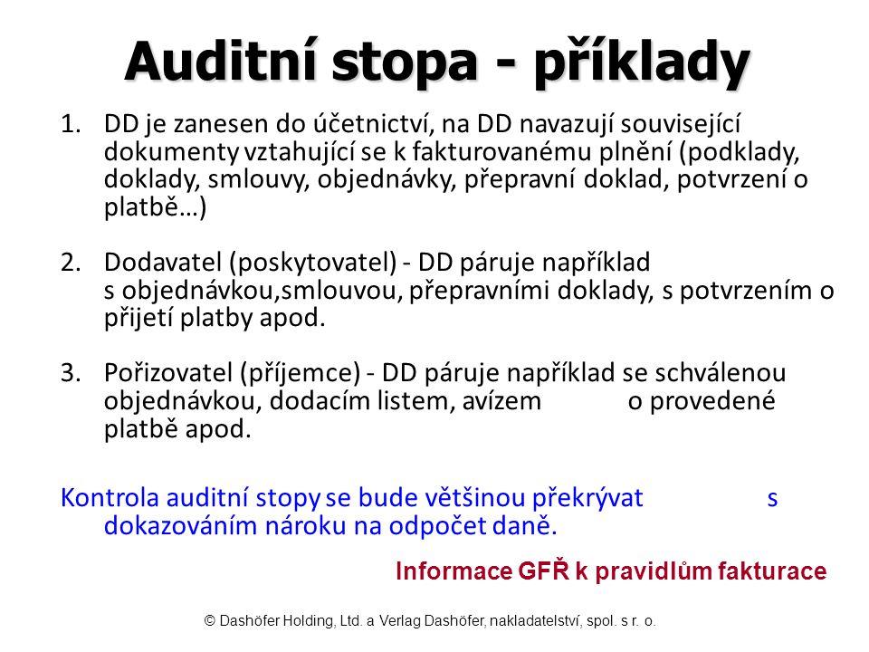 Auditní stopa - příklady