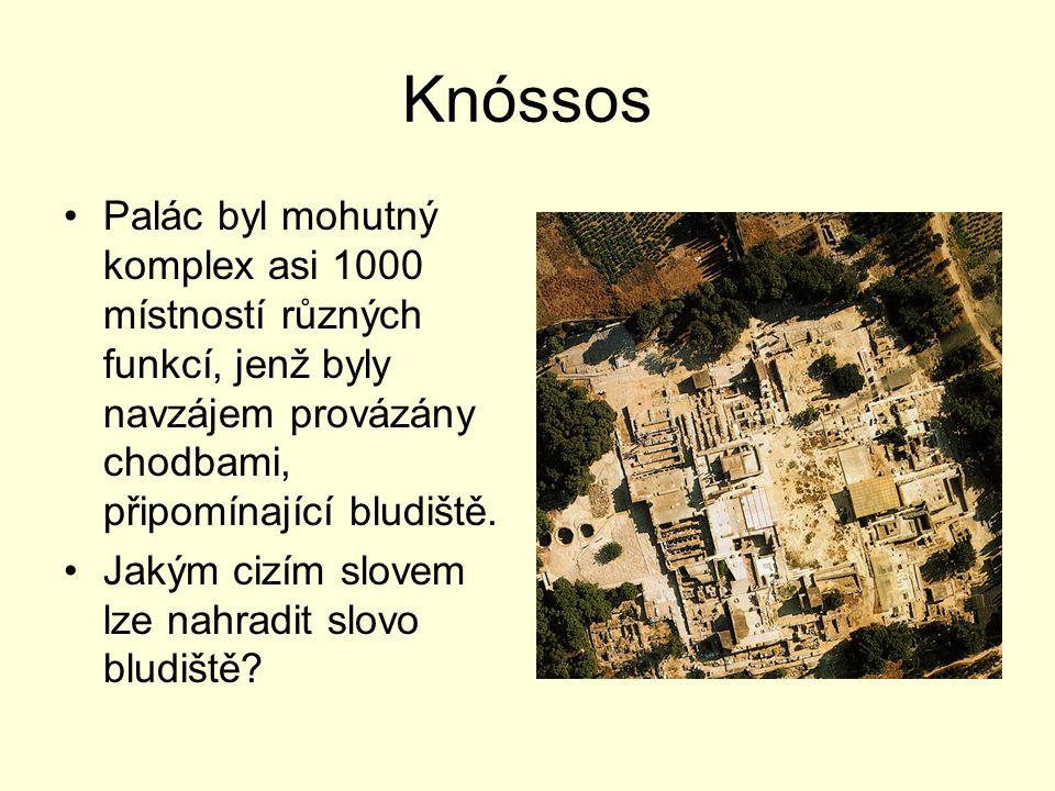 Knóssos Palác byl mohutný komplex asi 1000 místností různých funkcí, jenž byly navzájem provázány chodbami, připomínající bludiště.