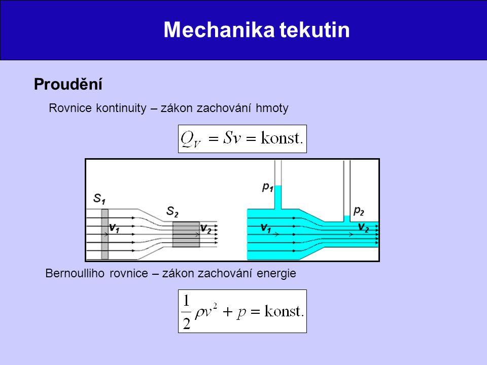 Mechanika tekutin Proudění Rovnice kontinuity – zákon zachování hmoty