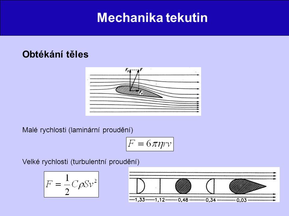 Mechanika tekutin Obtékání těles Malé rychlosti (laminární proudění)
