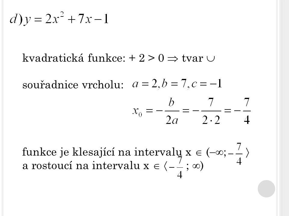 kvadratická funkce: + 2 > 0  tvar 