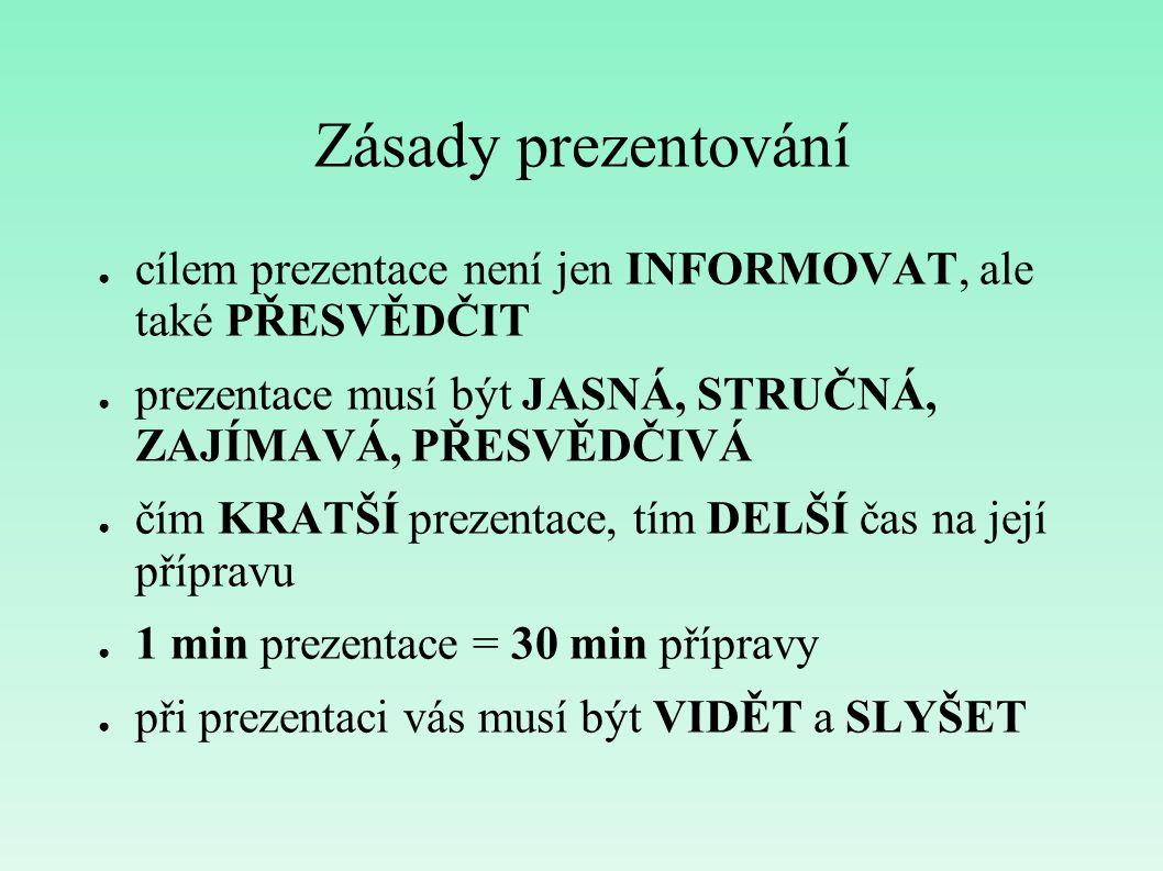 Zásady prezentování cílem prezentace není jen INFORMOVAT, ale také PŘESVĚDČIT. prezentace musí být JASNÁ, STRUČNÁ, ZAJÍMAVÁ, PŘESVĚDČIVÁ.