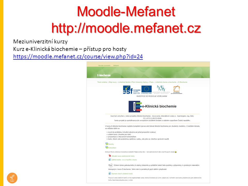 Moodle-Mefanet http://moodle.mefanet.cz Meziuniverzitní kurzy