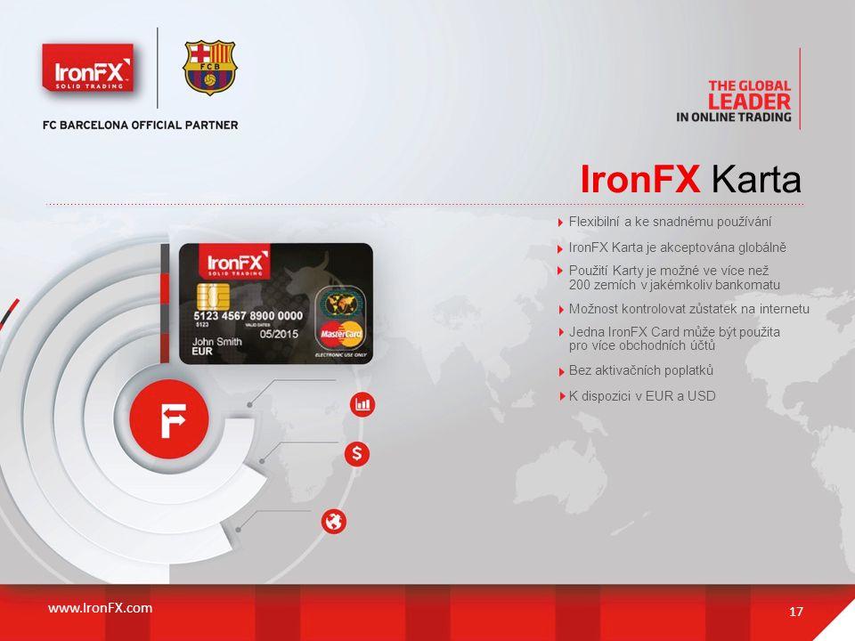 IronFX Karta www.IronFX.com Flexibilní a ke snadnému používání