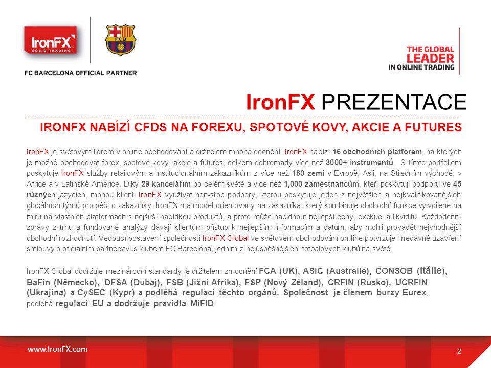 IronFX PREZENTACE IRONFX NABÍZÍ CFDS NA FOREXU, SPOTOVÉ KOVY, AKCIE A FUTURES.