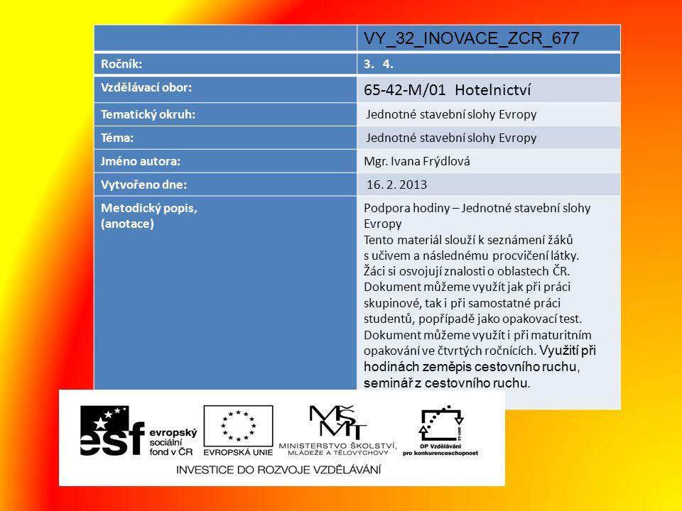 VY_32_INOVACE_ZCR_677 65-42-M/01 Hotelnictví Ročník: 3. 4.