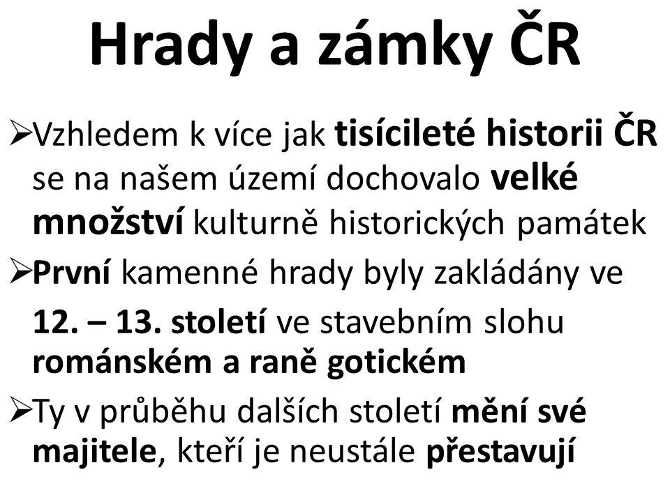 Hrady a zámky ČR Vzhledem k více jak tisícileté historii ČR se na našem území dochovalo velké množství kulturně historických památek.